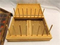 Wood Thread Box, Wood Curio Shelf with Doors