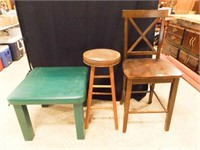 Green Wood Table, Stool, Tall Chair