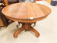 "Round 42"" Wood Table, Pedestal Base, 2 Leaves"