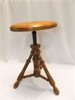 "Wood Piano Stool, spins, 12"" diameter seat"