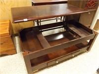Coffee Table, Top Raises, Wheels added