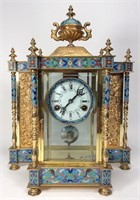 Brass  Reproduction Mantle Clock, Urn top, enamel