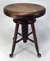 Chestnut Organ Stool, rope turned legs have glass