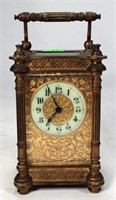 Brass Carriage Clock, French guilt case, enameled