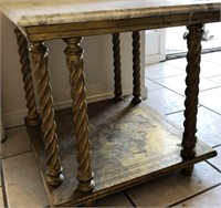 62 - VINTAGE MARBLE TOP SIDE TABLE