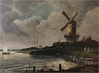 62 - SIGNED AND FRAMED OLD WINDMILL PICTURE