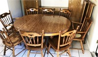 TELL CITY CHAIR COMPANY ANDOVER TABLE & 8 CHAIRS