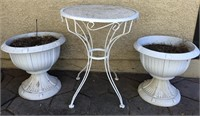 62 - ORNATE TABLE & PLANTERS