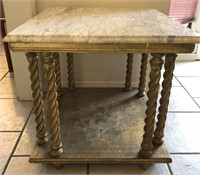 62 - BEAUTIFUL MARBLE TYPE TOP END TABLE