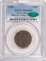 1/2C 1797 1 ABOVE 1. PCGS MS66 BN CAC