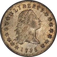 $1 1795 2 LEAVES. PCGS MS64+ CAC