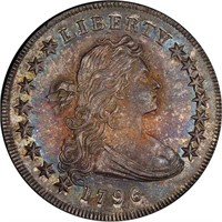 $1 1796 SMALL DATE. SMALL LETTERS. PCGS MS65 CAC