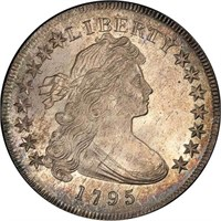 $1 1795 OFF CENTER BUST. PCGS MS66 CAC