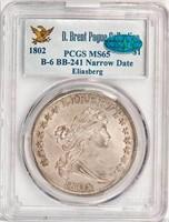$1 1802 B-6. BB-241. NARROW DATE. PCGS MS65 CAC