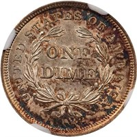 10C 1837 NO STARS. LARGE DATE. NGC MS63 CAC