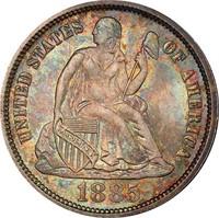 10C 1885 PCGS MS67 CAC