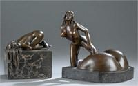 2 Erotic female nude sculptures, bronze.