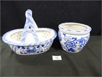 Blue/White Decorative Basket; Pot