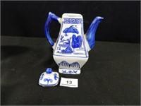 Blue/White Planter; Teapot