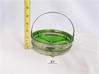 Green Glass Divided Dish