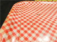Red/White Metal Tray; Vintage