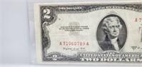 1953 B Red Seal $2 Dollar Bill