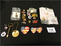 Lapel Pins-(18); Charms-(2)