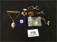F.L.U. Tie Tack-Sterling; Army Pins-2