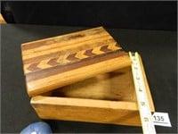 Wooden Box w/Inlaid Design