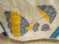 Quilt; Appliqued Girls w/Umbrellas