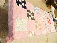 """Multicolored Quilt; 68"""" x 76"""""""