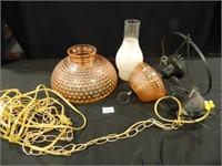 Hobnail Lamp w/Shade; Vintage
