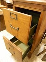Wooden 2-Drawer Oak File Cabinet