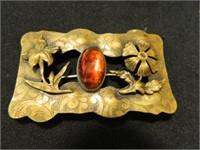 Brooches; Gold tone w/Orange Stone