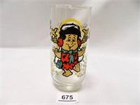 Freddy Flintstone Kids Glass; 1986