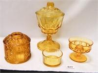 Amber Glass; Candy Dish w/lid