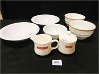 Bowls (5); Sugar & Creamer