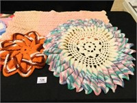 Crocheted Items; Doilies