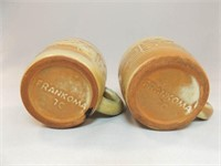 Frankoma Brown Tone Patterned Cups (2)