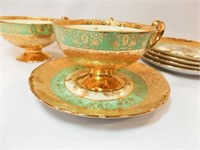 Victoria Teacups (3), Saucers(5), 24K Gold