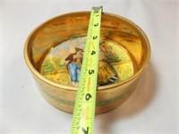 Osborne China Bowl with Lid, 22K Gold