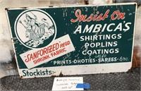 D - ANTIQUE PORCELAIN AMBICAS SIGN 20 X 12