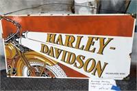D - VINTAGE HARLEY DAVIDSON PORCELAIN SIGN 24 X 12