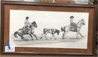 D - VINTAGE PENCIL DRAWING COWBOWS BY J HENDERSON