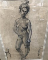 D - ANTIQUE CHARCOAL DRAWING 31.5 X 43