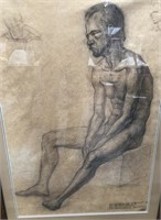 D - ANTIQUE CHARCOAL DRAWING 30 X 43