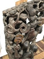 D - ANTIQUE CHINESE GUARDIAN CARVED WOOD SCULPTURE