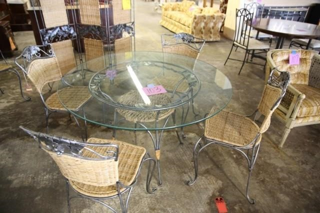 Glass Top Wrought Iron Wicker Table 4 Chairs Earl S Auction Company