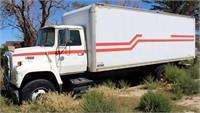 1990 Ford L8000 TK w/22' Van Box, diesel eng, 5-spd/2-spd trans