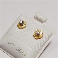14K  Diamond(0.1ct) Pearl Earrings